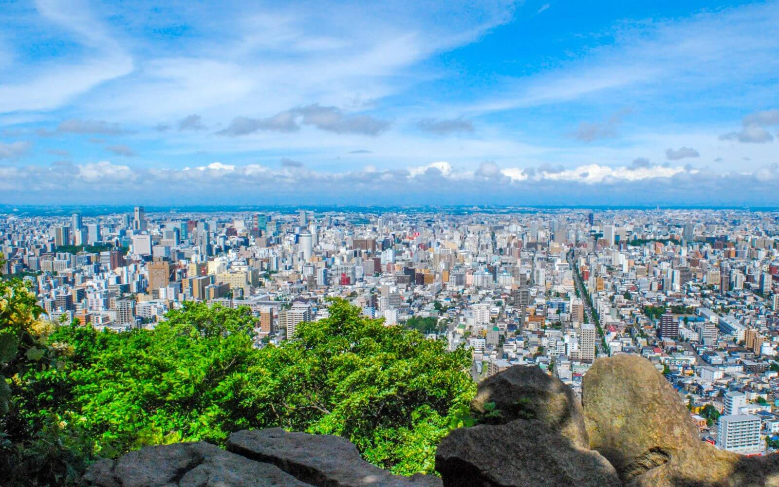 From the top of Mt. Maruyama, you can see some of Sapporo's landmark buildings, including the JR Tower, the distinctive shape of which is visible on the left-hand side of this photo.
