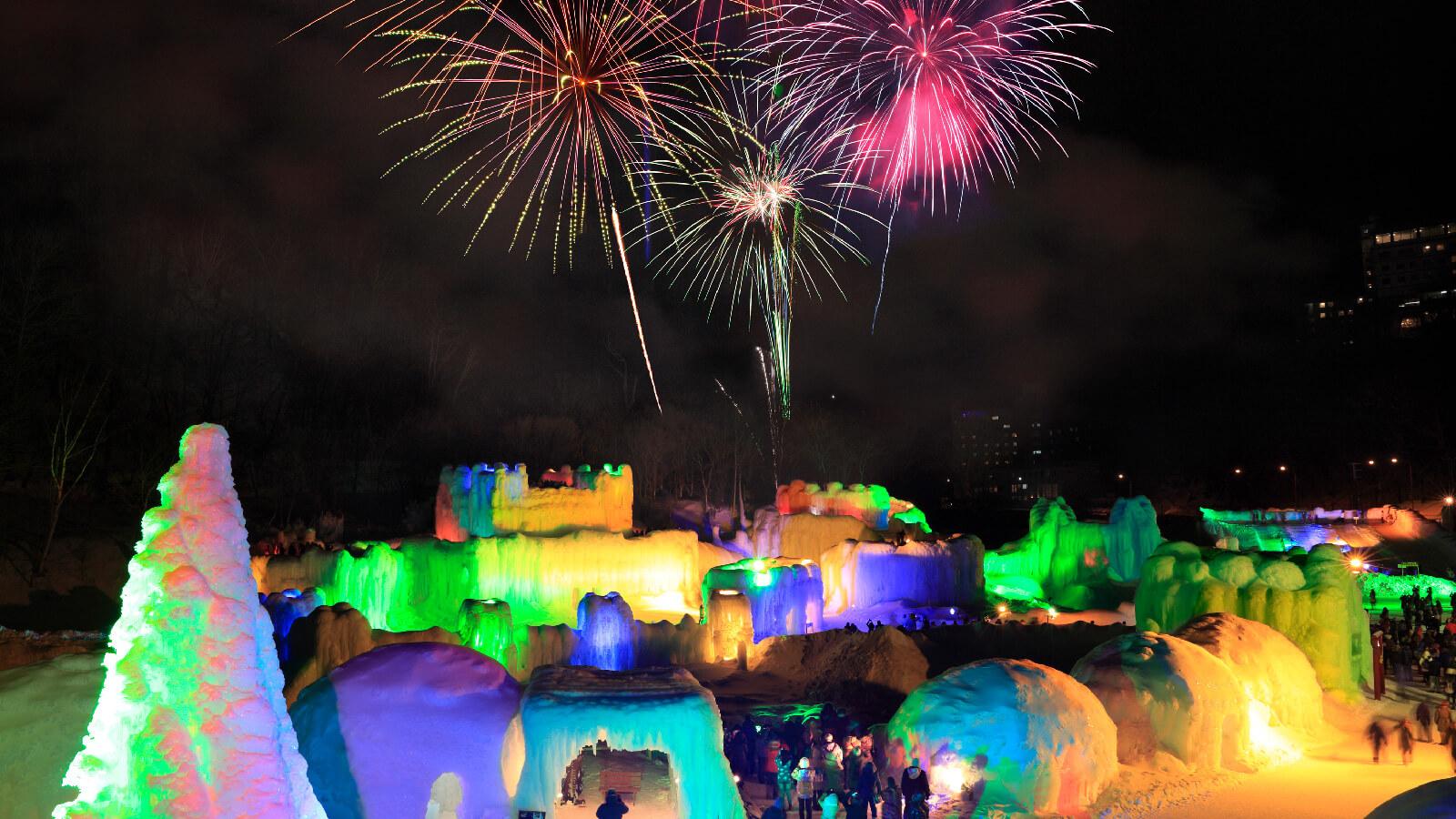 A Colorful Winter Ravine in Sounkyo: Ice Fall Festival
