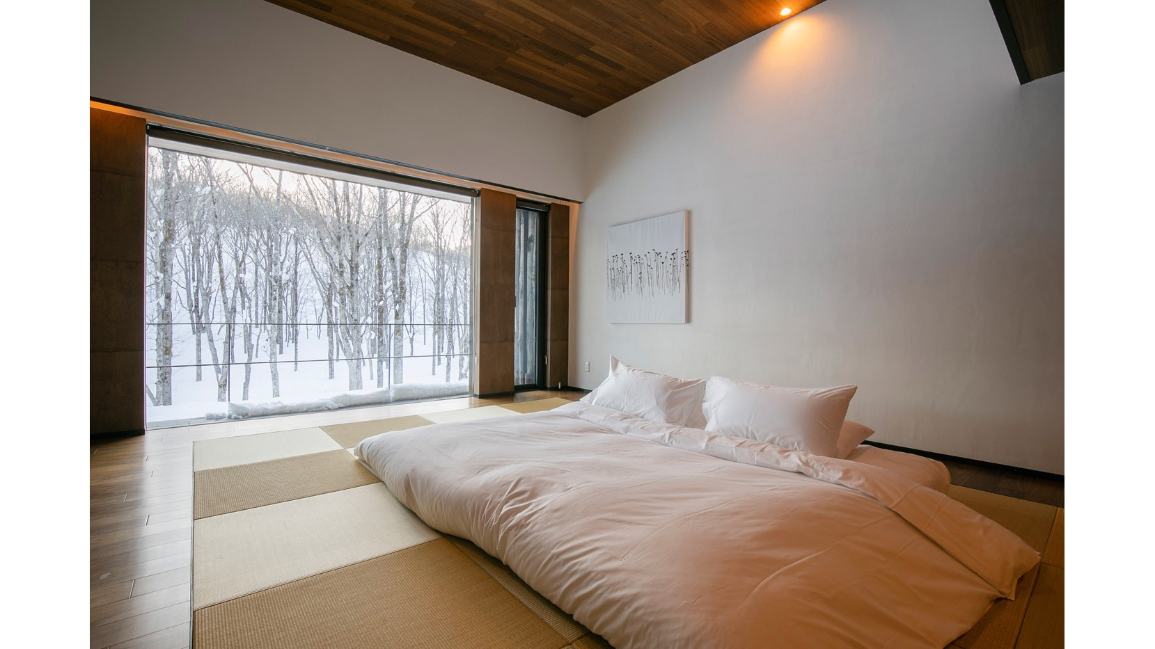 """The guest room. Zaborin's philosophy is inspired by Zen teachings, with the facility aiming to be a place where you can """"stare at the heart, free of all thoughts and desires"""""""